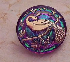 Peacock Czech Button