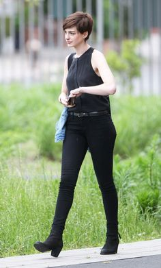 Anne Hathaway on the set of Song One in Brooklyn, June 2013.