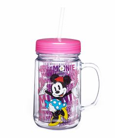 Minnie Mouse Mason Jar by Minnie Mouse #zulily #zulilyfinds
