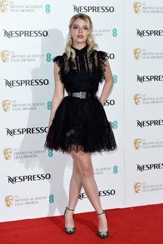 Anya Taylor-Joy wore an #ElieSaab Spring 2017 dress to the British Academy Film Awards Nominees Party. #BAFTAs2017