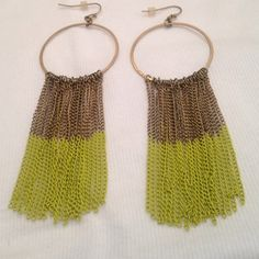 Boho earrings Cold hoop earrings with cold and green hanging chains. Bar III Jewelry Earrings