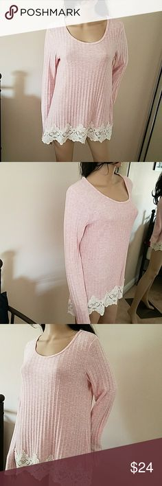 Rewind heathered pink ribbed crochet tunic NWOT L Rewind heathered dusty pink ribbed crochet trim  long sleeve longer  in back tunic top NWOT L Rewind Tops Tunics