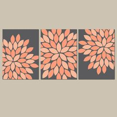 Coral Colored Wall Decor dandelion wall art flower artwork coral custom colors modern