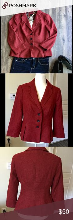 The Limited three-quarter sleeve Blazer Beautiful deep red three-quarter sleeve slight peplum style The Limited Jackets & Coats Blazers