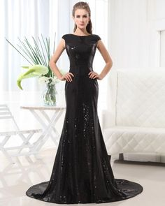 Sleeveless Sequined Floor-Length Dress $140. GREAT prom dress: modest and glamorous!