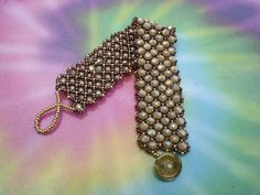 Moon Rocks Netted Bracelet; Hand Beaded, Beadweaving, High Fashion by JazzyDazzleJewelry on Etsy