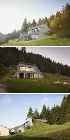 JDS Architects have designed a home that appears to blend into the hillside, in the village of Bois D'amont, France.