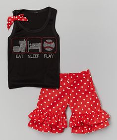 Look at this Black 'Eat Sleep Play' Tank & Ruffle Shorts - Toddler & Girls on #zulily today!