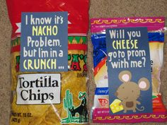 "#Prom #Prom #invite #How to ask someone to prom- tape ""I know it's NACHO problem, but im in a CRUNCH... Will you CHEESE go to prom with me?"" to a bag of chips and to a bag of cheese"