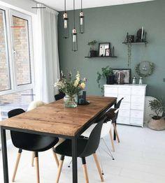 Living Room Green, Home Living Room, Living Room Decor, Küchen Design, House Design, Design Salon, Dining Room Inspiration, Dining Room Design, Dining Room Colors