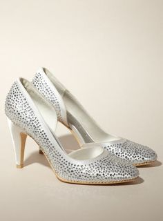 Paris All Over Diamanté Heeled Shoe, Ivory, 9cm heel £55 www.bhs.co.uk