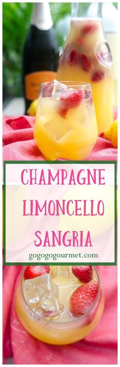 Champagne Limoncello Sangria Go Go Go Gourmet - We& running out of summer, so make this fabulous summer refresher- Champagne Limoncello Sang - Party Drinks Alcohol, Alcohol Drink Recipes, Sangria Recipes, Fun Drinks, Yummy Drinks, Cocktail Recipes, Alcoholic Drinks, Beverages, Margarita Recipes