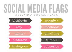 Social Media Flag Buttons  Adeline INSTANT by 17thAvenueDesigns, $5.00
