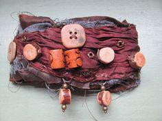 wrist cuff, salvaged textile, cuff bracelet, rusty key, elizabeth, ersabet, medeina, goddess, tattered bracelet