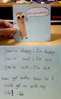 Super cute bandaid get well soon card. :)