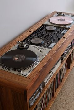 Blackwood record vinyl dj turntable cabinetYou can find Vinyl record storage and more on our website. Home Music Rooms, Music Studio Room, Audio Studio, Stereo Cabinet, Record Cabinet, Turntable Setup, Vinyl Turntable, Dj Table, Deco Studio