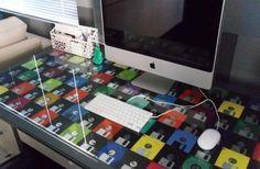 Mesa com Disquetes #diy #floppydisk #disquete #reciclar #reaproveitar