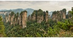 Five Fingers Peak of Huangshizhai, located in Wulingyuan Scenic  Historic Interest Area in China. Wulingyuan is noted for its more than 3,000 quartzite sandstone pillars and peaks across most of the site, many over 200 metres (660 ft) in height, along with many ravines and gorges with attractive streams, pools and waterfalls. It features 40 caves, many with large calcite deposits, and two natural bridges, Xianrenqiao (Bridge of the Immortals) and Tianqiashengkong (Bridge Across the Sky).