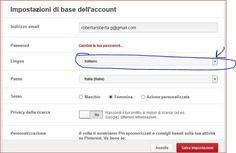 Pinterest in italiano da impostazioni cambia lingua