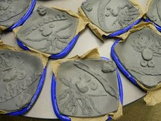 Kindergarten clay face plates (slabs with low relief forms)