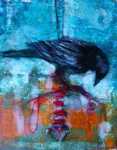 ARTFINDER: The Find by Tonja Sell - Raven Study Series Acrylic mixed-media 8x10 on panel