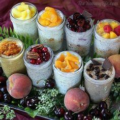 Hier sind acht Sorten abgebildet: Ananas-Kokosnuss, Mandarine-Orange, Kirsche, Pfirsich Melba, Kürbispastete, Cranberry-Pekannuss, Aprikose-Ingwer und Mokka. Such Dir hier Dein Lieblingsrezept.