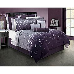 @Overstock - Lavender Dreams is a peaceful and calming bedding ensemble in a palette of tonal colors. It offers an intricate horizontal pattern of leaves and branches on an ombre background ranging from deep plum to a soft grey and reversing to lavender.http://www.overstock.com/Bedding-Bath/Lavender-Dreams-Queen-size-4-piece-Comforter-Set/6325322/product.html?CID=214117 $99.99