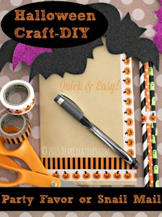 These quick and easy Halloween DIY projects will add some seasonal decor to your home for the holiday but won't break either the time or the money bank. Easy Halloween Crafts, Halloween Treat Bags, Halloween Party Favors, Diy Halloween Decorations, Halloween Halloween, Spirit Halloween, Craft Party, Art For Kids, Craft Projects