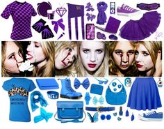 """Juno Temple & Emma Roberts - purple and blue"" by emoscene92 ❤ liked on Polyvore"