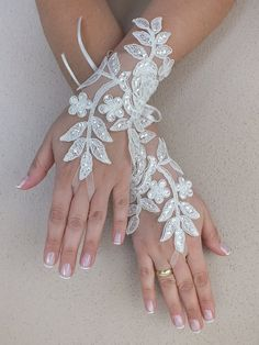 Free ship Ivory lace Wedding gloves floral by ByMiracleBridal