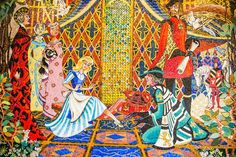 "Cinderella castle mosaic walls were designed by Imagineer Dorothea Redmond. Each of the five contain hundreds of thousands of pieces of glass fused together with silver and 14-carat gold. The mosaics feature more than 500 colors. You can see that Cinderella's stepsisters each have a unique facial tint: the face of one stepsister is tinted red (as in ""red with rage"") and the other's visage has a green tint (as in ""green with envy"") as they watch Cinderella try on the glass slipper."