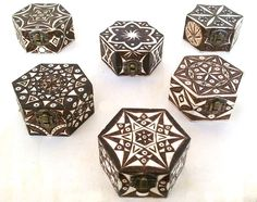 Hexgonal jewelry boxes - pyrography by Jimi