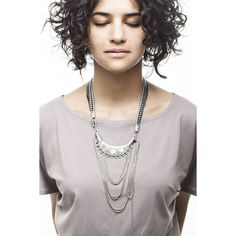 Half-moon silver color necklace with metalic beaded chains Handmade fashion Montreal
