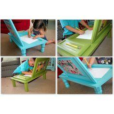 Cupboard Door-gone-Art Desk  #DIY #Ideas for #kids Room