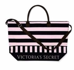 VICTORIA'S SECRET GETAWAY BLACK PINK STRIPED LARGE TOTE WEEKENDER BAG NEW NWT #VictoriasSecret #WeekenderToteBag
