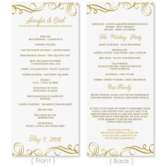 Wedding Program Template - DOWNLOAD INSTANTLY - Edit Yourself - Elegant Swirls (Gold) Tea Length - Microsoft Word Format on Etsy, $8.00