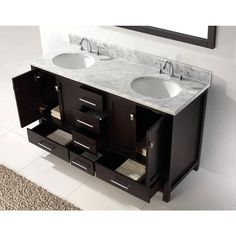 Virtu USA Caroline Avenue 60 in. W x 36 in. H Vanity with Marble Vanity Top in Carrara White with White Basin and Mirror-GD-50060-WMRO-ES - The Home Depot