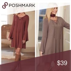 🌿🍁 SUPER SOFT BOHO LACE UP DARK TAUPE BELL DRESS YOUR GO TO SOFT LACE UP BOHO DRESS MADE IN USA🇺🇸  95% POLYESTER 5% SPANDEX. SIMPLY THE NICEST FLOWY DRESS IN FALL COLORS! LISTING HERE IS FOR DARK TAUPE. MSG ME IF YOU HAVE QUESTIONS🌻 RUST OS SEPARATE LISTING🍁 Infinity Raine Dresses Mini