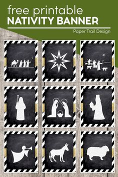 Free printable Christmas nativity banner silhouette images including a manger scene, wise men, shepherds, the star, and stable animals. #papertraildesign #nativity #nativitybanner #Christmas #Christmasdecor Christmas Nativity, Christmas Treats, All Things Christmas, Christmas Fun, Christmas Decorations, Free Christmas Printables, Free Printables, Silhouette Images, Paper Trail