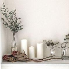 女性で、2LDKのドライフラワー/ルリダマアザミ/ユーカリ/プロテア/テトラゴナ/玄関/入り口…などについてのインテリア実例を紹介。(この写真は 2015-08-12 11:17:09 に共有されました) Bedroom Inspo, Kidsroom, Scandinavian Design, Dried Flowers, My Room, Candle Sconces, Candle Holders, Wall Lights, New Homes