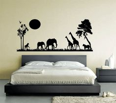 African Safari Animal Sillhouette Wall Art by WallfrogGraphics, £12.95
