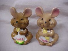 Cute vintage pair Chef Mice Salt and Pepper Shakers
