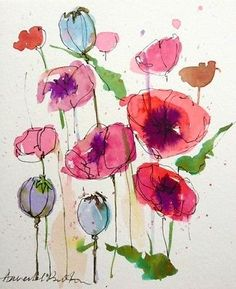 Original Water Colour and ink Painting 'Poppies'. Signed.