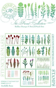 Michelle Ward has released these wonderful stamps and stencils that are perfect for many mixed media projects:  Frond Collection http://www.greenpepperpress.com/cgi-bin/itsmy/go.exe?page=6=1=greenpepperpress