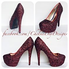 Granate Burdeos High Heels  talones de brillo por ChelsieDeyDesigns