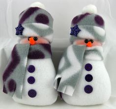 Christmas Decocration Stuffed Snowman Ornaments Flurrie Frizzle in Purple and Grey Fleece Set of 2 -- Trust me, this is great! Click the image. : Handmade Gifts