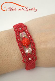 Ruby red and silver beaded Macrame bracelet with Rhinestone, casual summer accessory, hippie rope jewelry, lacy gypsy bohemian style gift