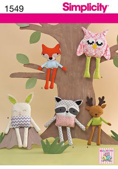 Fun and easy to sew softies! Simplicity 1549 includes patterns for an owl, a bunny, a raccoon, a fox, and a reindeer.