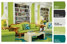 I love this funky living room with the bold green color.