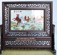 Horses, double-sided embroidery work, one embroidery two identical sides, Chinese Suzhou silk embroidery art, Su Embroidery Studio